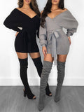 Sexy Solid V-neck Long Sleeve Mini Dress