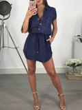Drawstring Waist Sleeveless Solid Denim Mini Dress