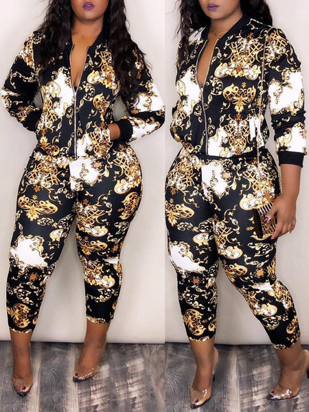 Casual Digital Printed Zipper Two Piece Outfits