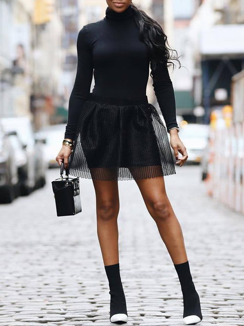 Sexy Mesh Solid Long Sleeve Two Piece Mini Dress