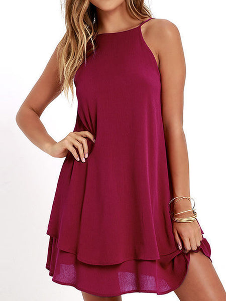 Casual Backless Flounced Solid Sleeveless Mini Dress