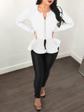 Solid Fashion Flounced Long Sleeve Top