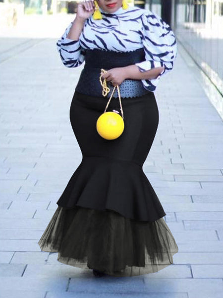Plus Size Flounced Lace Solid Maxi Skirt