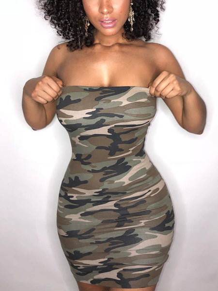 Camouflage Off The Shoulder Midi Dress