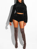 Solid Casual Long Sleeve Top & Shorts