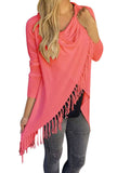 [Special Sale]Solid Long Sleeves Tassels Tops