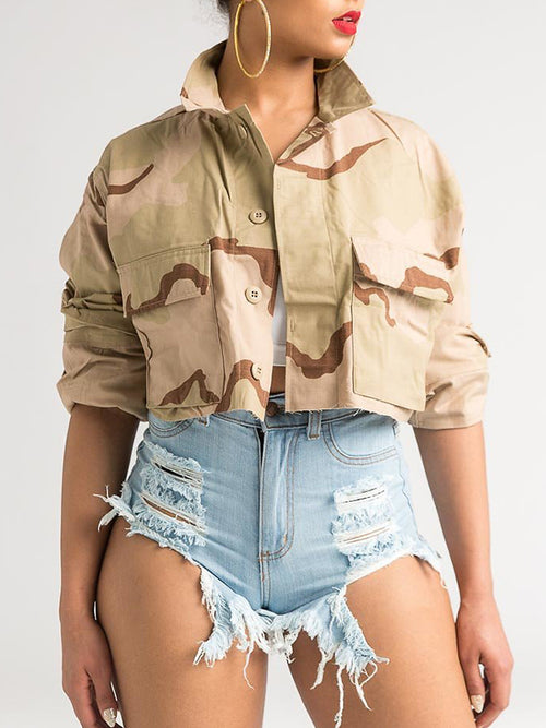 Camouflage Print Pocket Button Jacket
