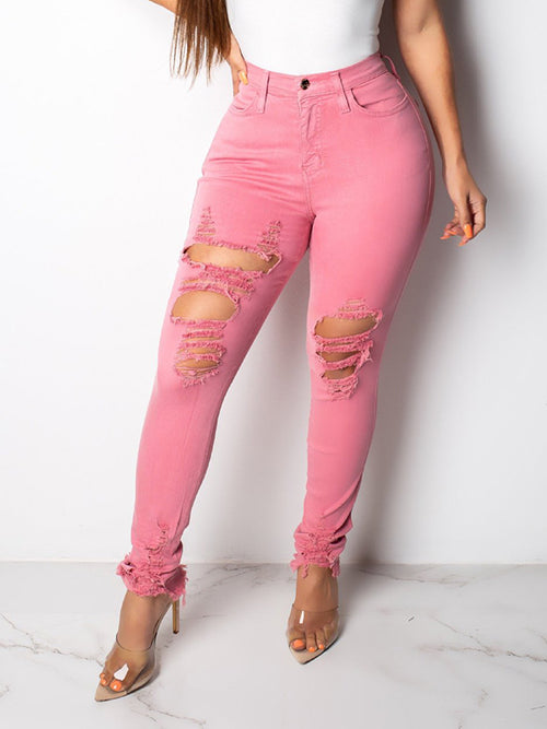 Denim Solid Color Distressed Pocket Pants