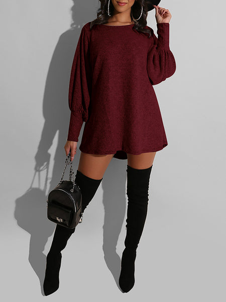 Solid Color Lantern Sleeve Casual Dress