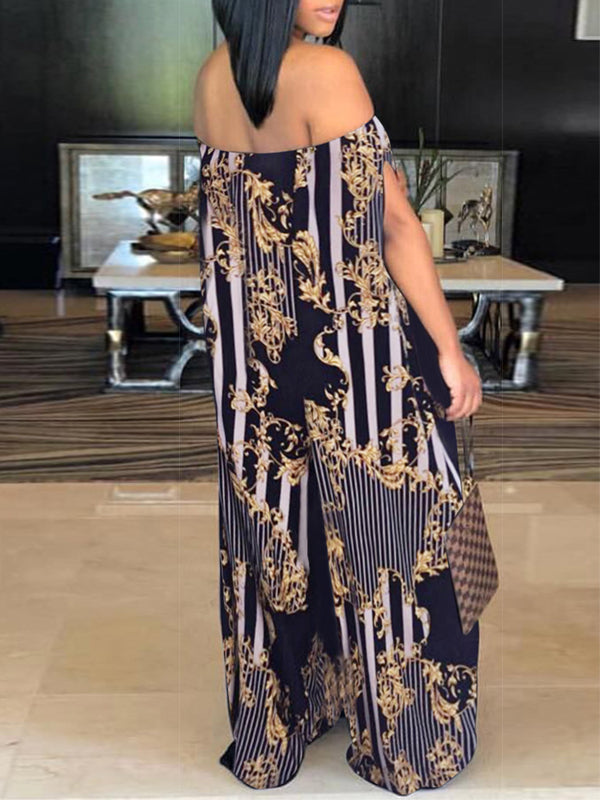 Casual Off The Shoulder Print Jumpsuit