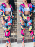 Geometry Print Zipper Long Sleeve Two Piece Outfits