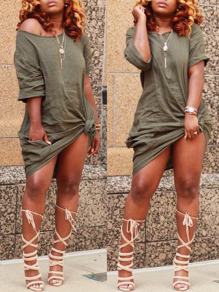 Casual Solid Skew Neck T-shirt Midi Dress