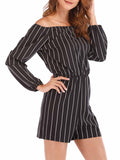 Stripe Print Off The Shoulder Long Sleeves Romper
