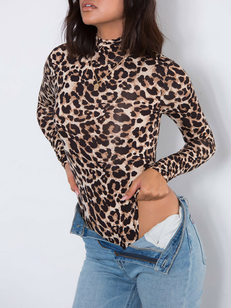 Sexy Leopard Print High Neck Romper
