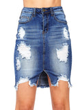 Fashion Denim Slit Ripped Skirt