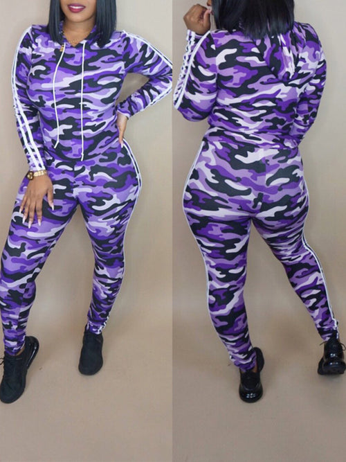 Camouflage Striped Casual Two Piece Sets