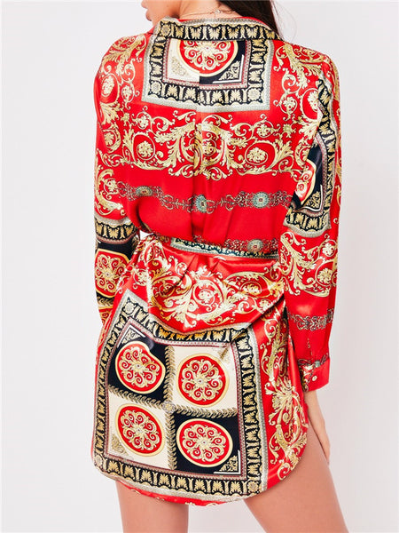 Printed Button Up Long Sleeve Belted Shirt Dress