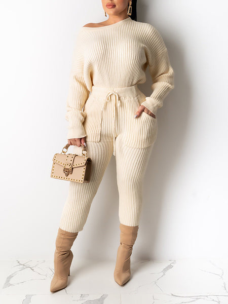 Skew Neck Knitted Pocket Two Piece Sets