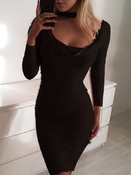 Cowl Neck Long Sleeve Solid Color Mini Dress