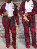 Plaid Print Long Sleeve Two Pieces Outfits