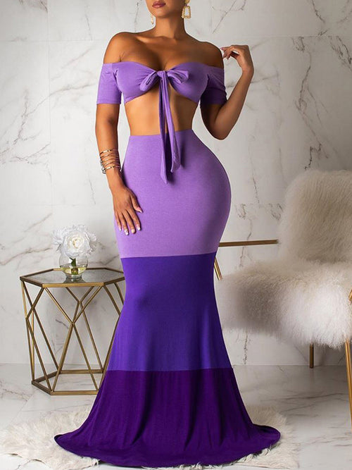 Off The Shoulder Tie Up Two Piece Maxi Dress