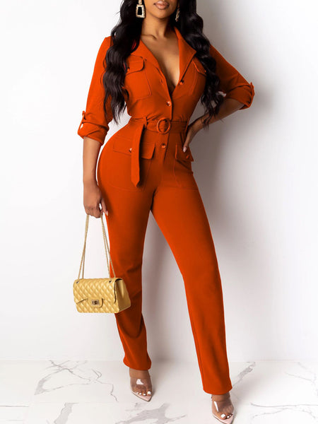 Turndown Collar Belted Solid Jumpsuit