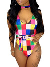 Color Block Belted One Piece Swimwear