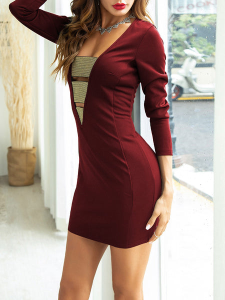 Bandage V-Neck Solid Color Short Sleeve Dress