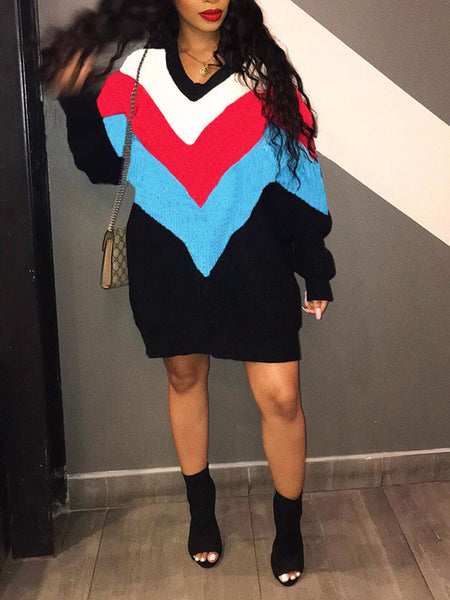 Geometric Patchwork V-Neck Long Sleeve Dress