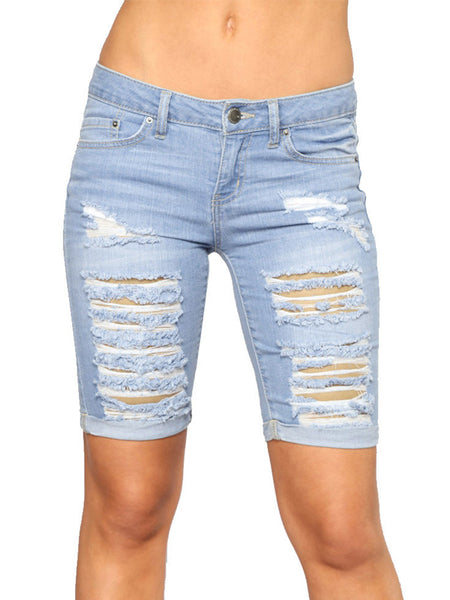Fashion Ripped Jeans Denim Shorts
