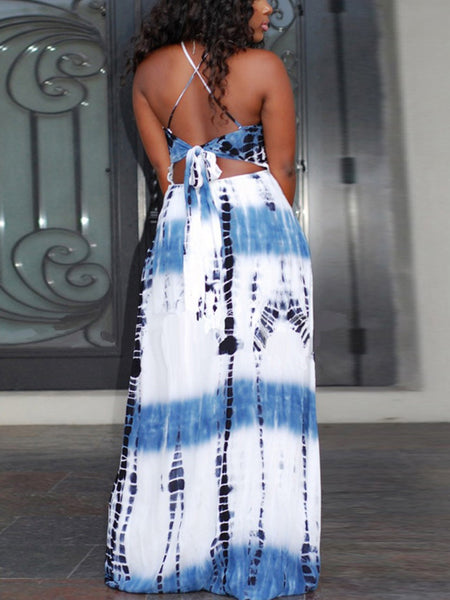 Print Hollow Out Slip Maxi Dress