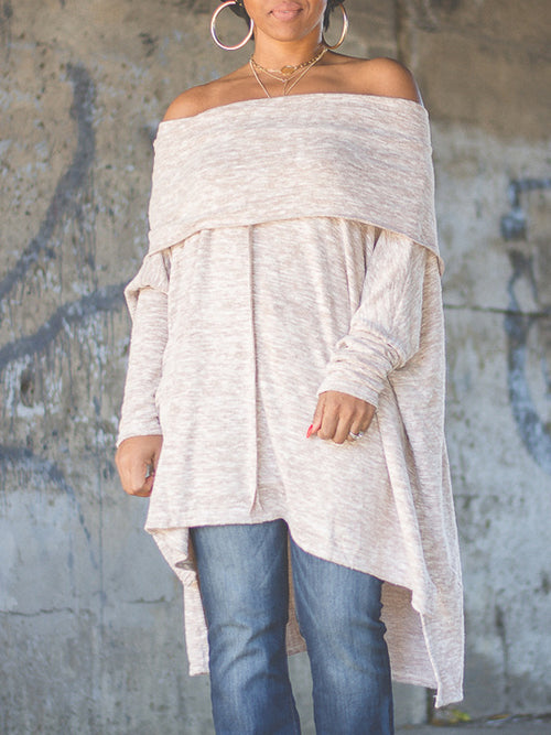 Casual Asymmetric Hem Off The Shoulder Top
