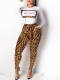 Leopard Print Long Sleeve Belted Two Piece Sets