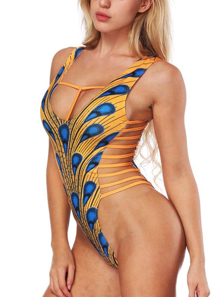 Sexy Backless V-neck One Piece Swimwear