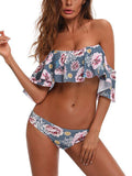 Flounced Print Two Pieces Swimwear