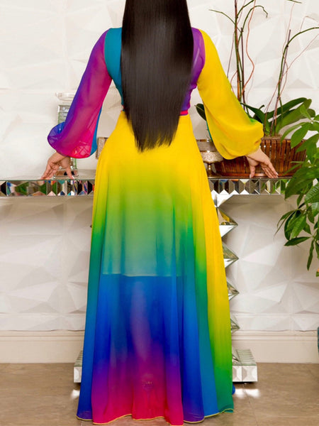 Plus Size Digital Print V-neck Belted Maxi Dress