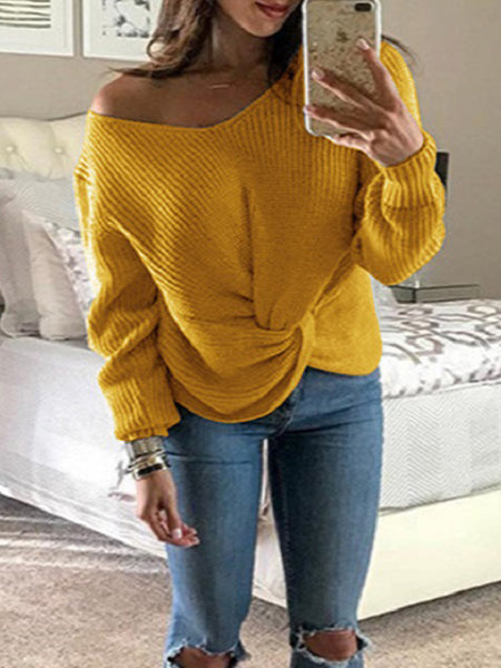 Solid V-neck Tie Neck Long Sleeve Sweater