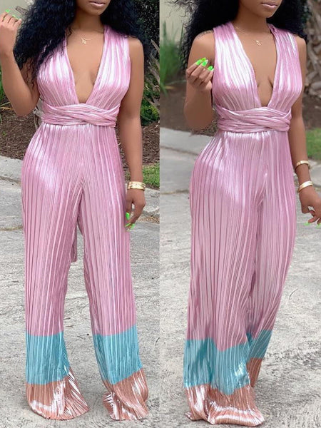 Sleeveless Open Back Belted Pleated Jumpsuit