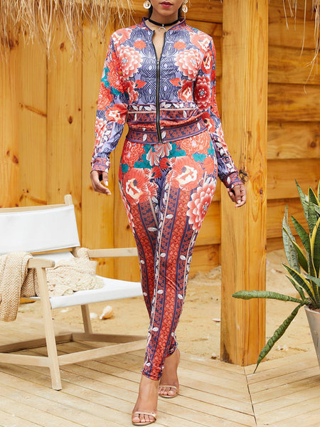 Fashion Print Zipper Long Sleeve Two Piece Outfits