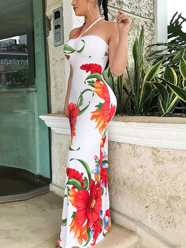 Sexy Print Sleeveless Maxi Dress