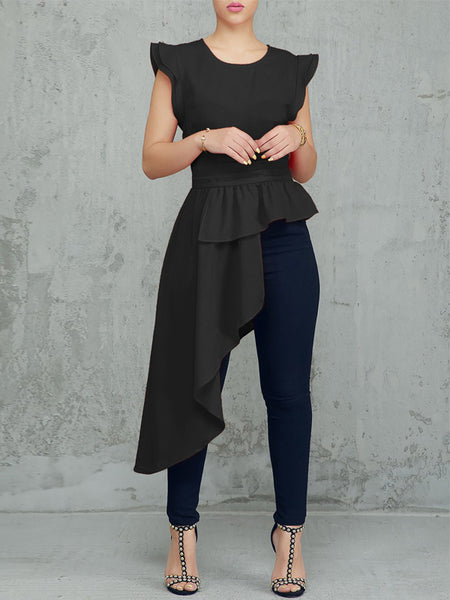 Solid Irregular Tops With Ruffles