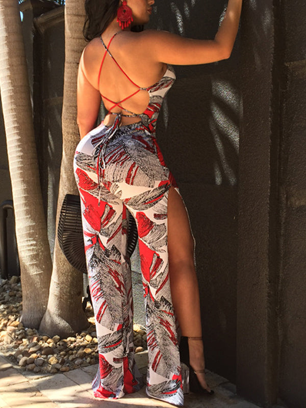 Sexy Backless Bandage Split Jumpsuit