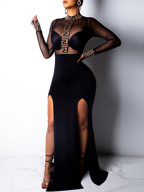 Sexy See-through High Slit Cutout Maxi Dress