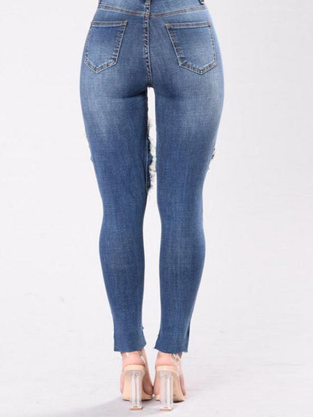 Hollow Out Ripped Jeans Pants