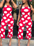 Fashion Off The Shoulder Polka Dot Sleeveless Jumpsuit