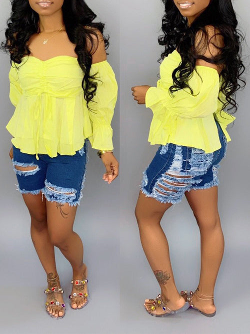 Ripped Holes Denim High Waist Shorts