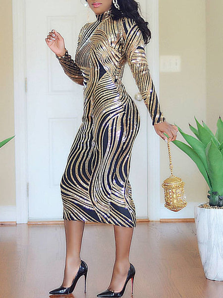 Sequin Slit Hem Long Sleeve Midi Dress