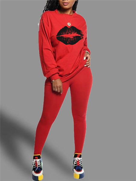 Lip Print Long Sleeve Casual Two Piece Sets