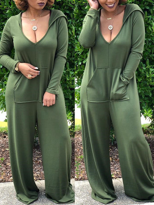 Long Sleeve Hooded V Neck Casual Solid Color Pocket Jumpsuit