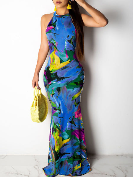 Casual V-neck Placement Print Pocket Maxi Dress